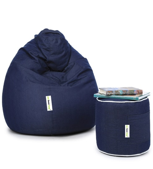 Denim Bean Bag With Beans Pouffe Cover In Blue Colour By Can