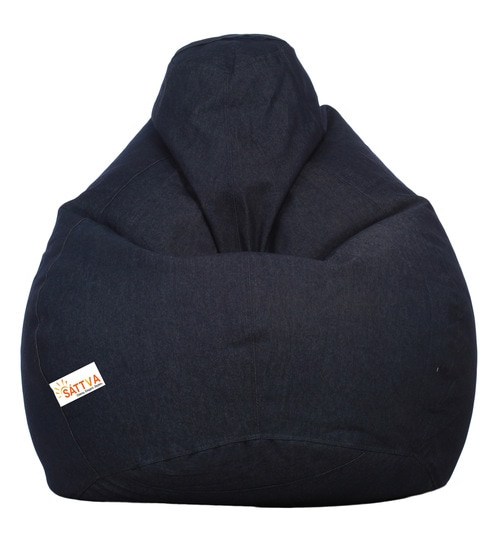 Denim Bean Bag With Beans In Dark Blue Colour By Sattva