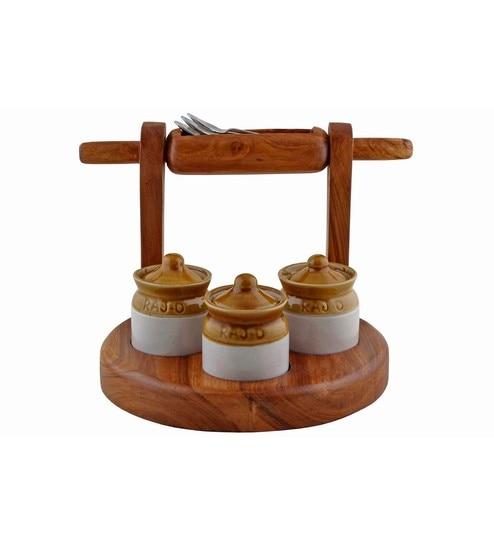 Desi Jugaad Chakla-Belan Natural Teak Wood Stand Jars - Set Of 7