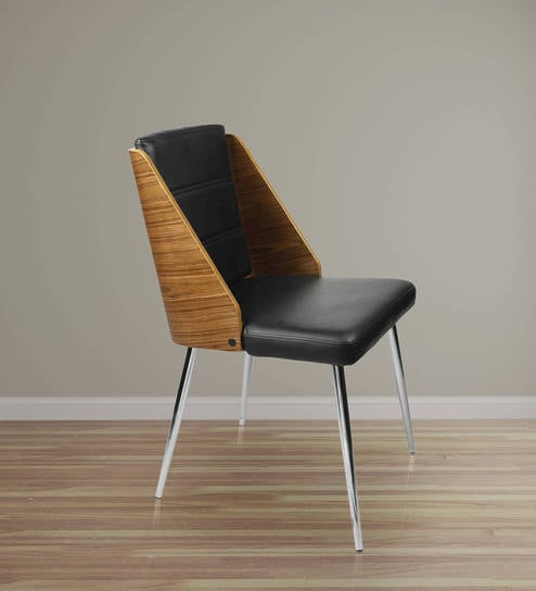 Buy Designer Chair With Ms Chrome Legs In Black Leatherette By