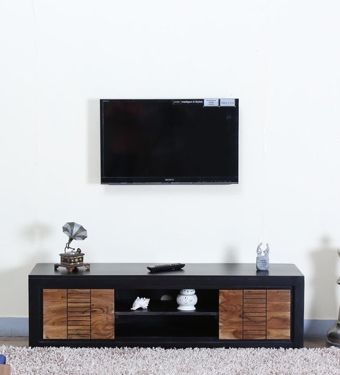 Buy Deux Solid Wood TV Unit in Dual Tone Finish by Woodsworth Online ...