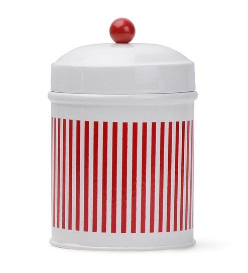 Deziworkz Red Strips Metal Cookie Jar Set Of 2