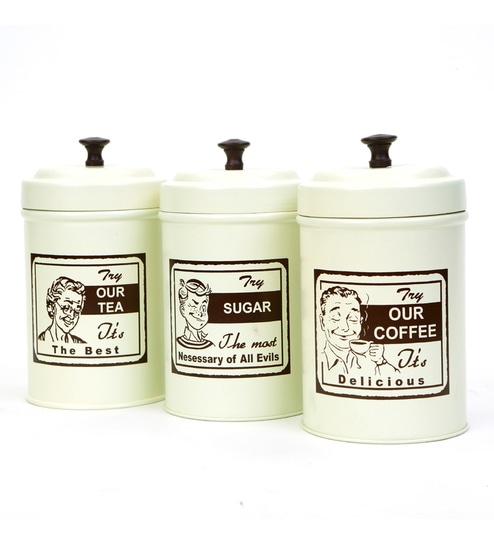 Deziworkz Matt White Cylindrical Archie Print Tea Coffee & Sugar Set - Set of 3