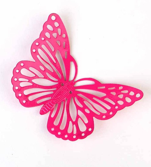 Pink Metal Decorative Butterfly Fridge Magnet - Set Of 2