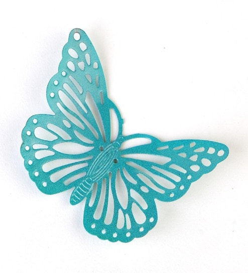 Turquoise Metal Decorative Butterfly Fridge Magnet - Set Of 2