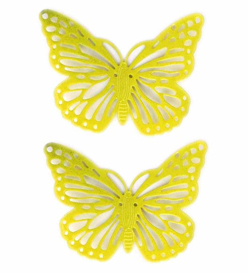 Buy Yellow Metal Decorative Butterfly Fridge Magnet - Set of 2 by ...