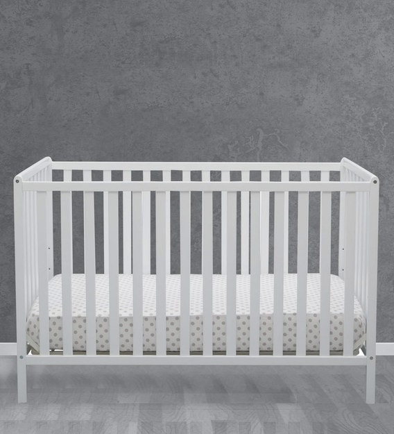 Convertible Baby Crib In White Finish, Baby Cribs That Convert To Queen Beds