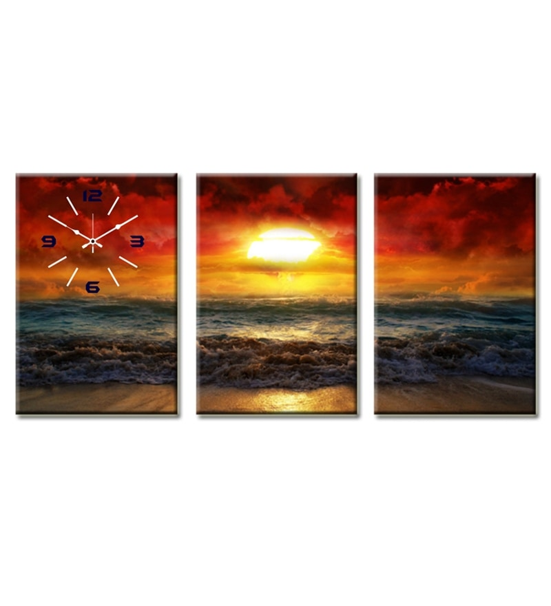 Design O Vista Three Panel Framed Ocean Painting With Wall