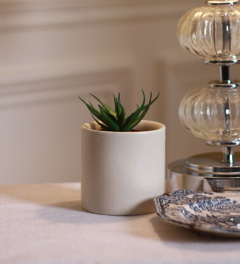 Matt White Ceramic Table Top Planter without Saucer by Decardo
