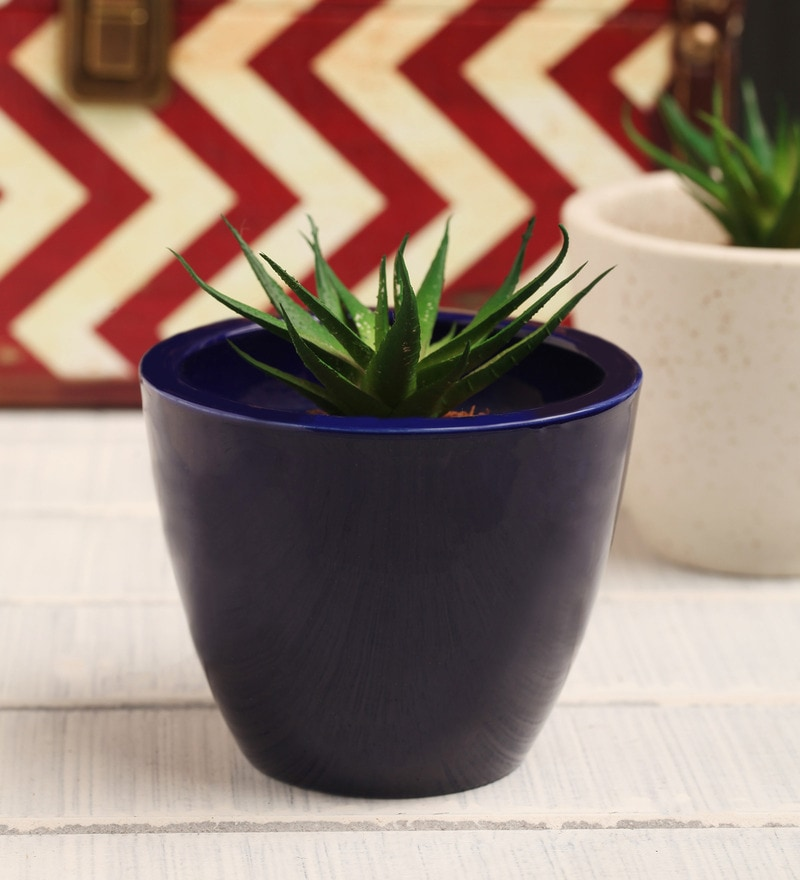 Navy Blue Ceramic Table Top Planter by Decardo