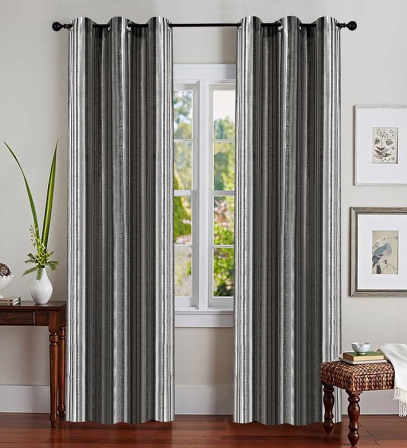Black Polyester 46 x 90 Inch Jacquard Eyelet Door Curtain - Set of 2 by Deco Essential