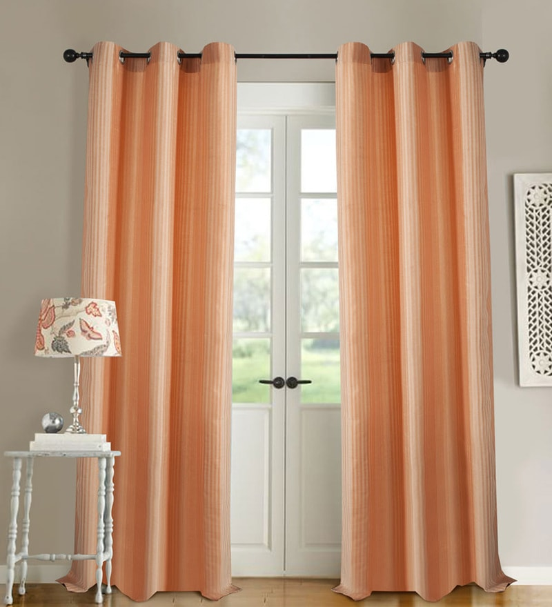 Peach Bud Polyester 46 x 90 Inch Jacquard Eyelet Door Curtain - Set of 2 by Deco Essential