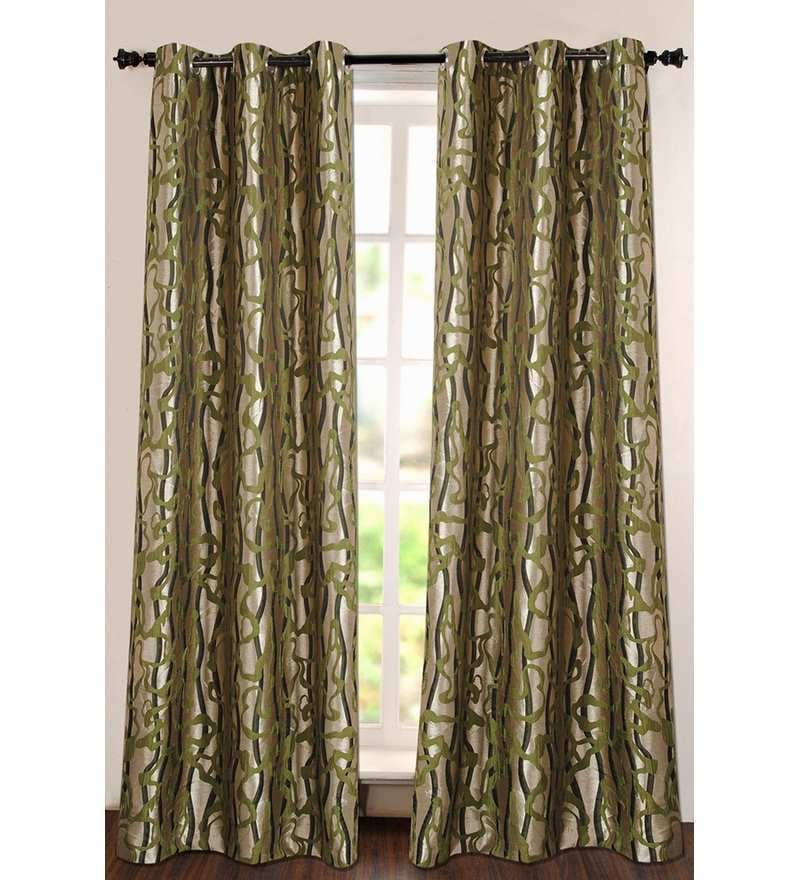 Green Polyester 90 INCH Door Curtain - Set of 2 by Deco Essential