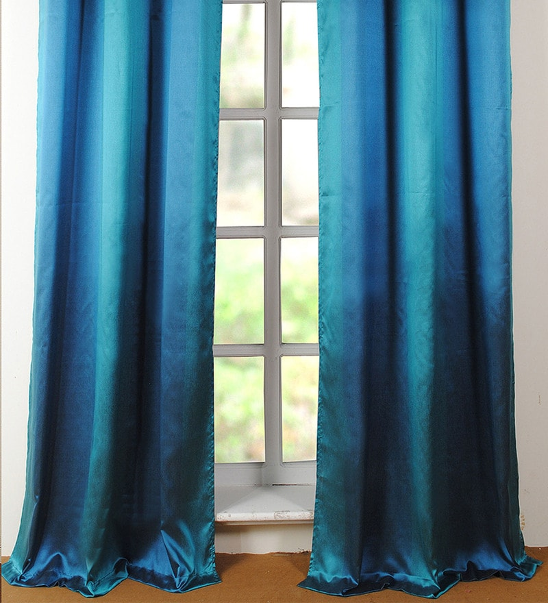 Turquoise Polyester 42 x 96 Inch Door Curtain - Set of 2 by Deco Window