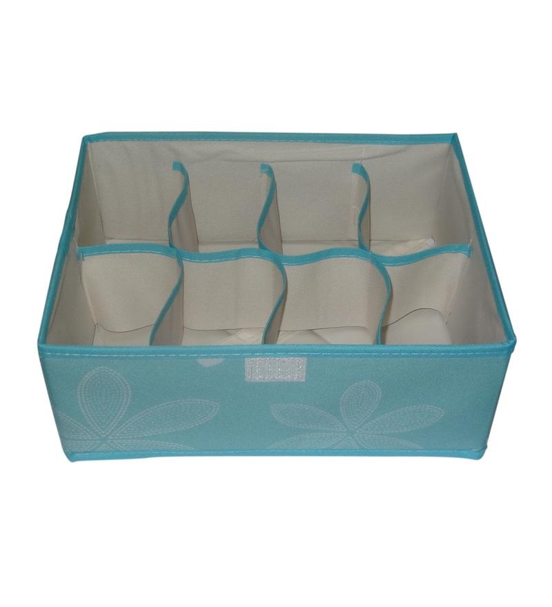 Blue Cloth Multipurpose 22.4 x 5.9 x 0.3 Inch Foldable Organizer by Decorika