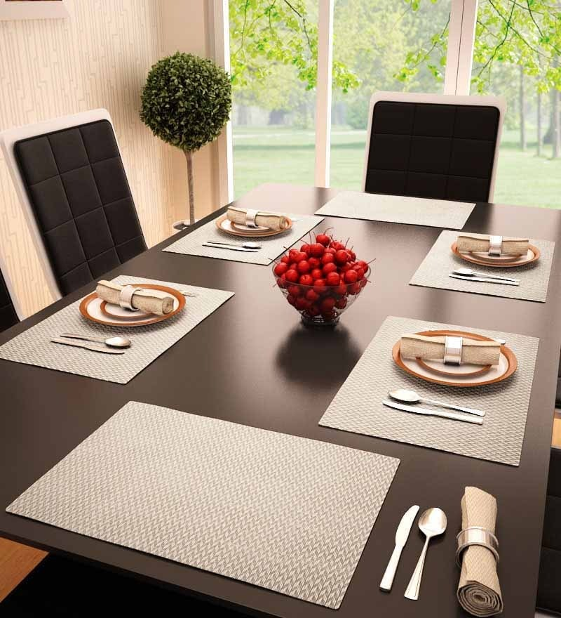 Decorika Brown Colored Reversible Table Mat - Set Of 6 Pcs