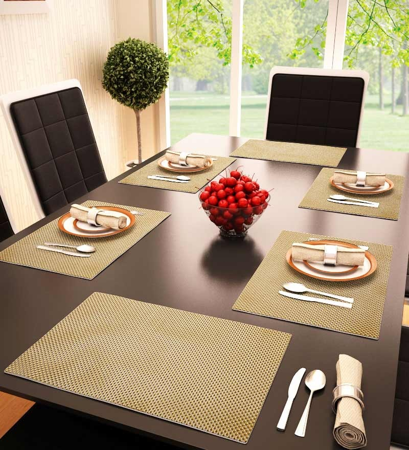 Decorika Reversible Yellow PVC Table Mat - Set of 6