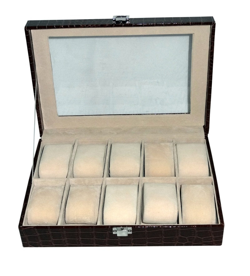 Decorika High Quality Elegant 10 Chamber Wood & Faux Leather Brown Watch Organizer