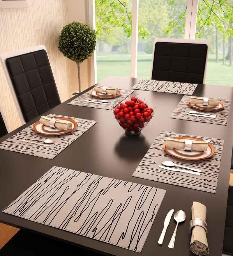 Decorika Cheetah Pink PVC Striped Table Mat - Set of 6