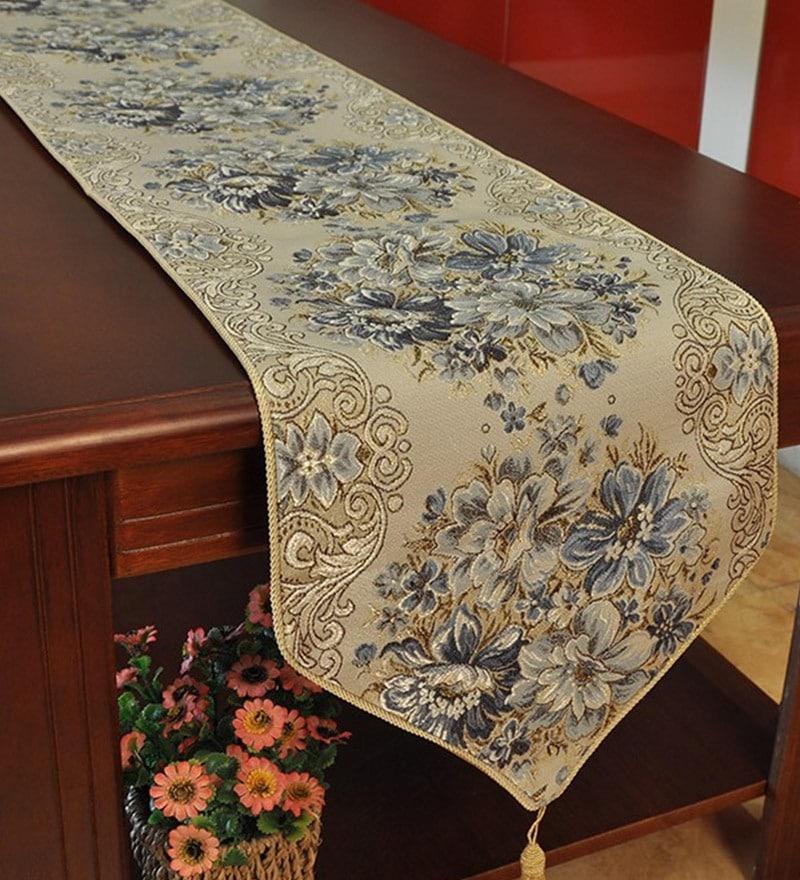 Decorika Pretty Floral Print Grey Cotton Table Runner