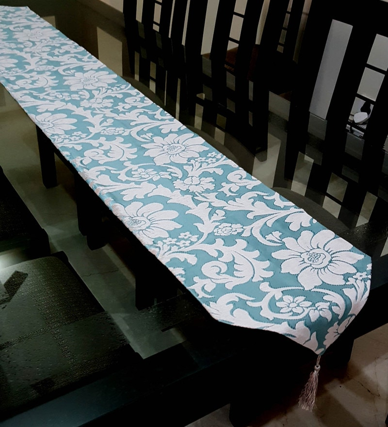 Decorika Pretty Floral Print Sea Green & Beige Cotton Table Runner