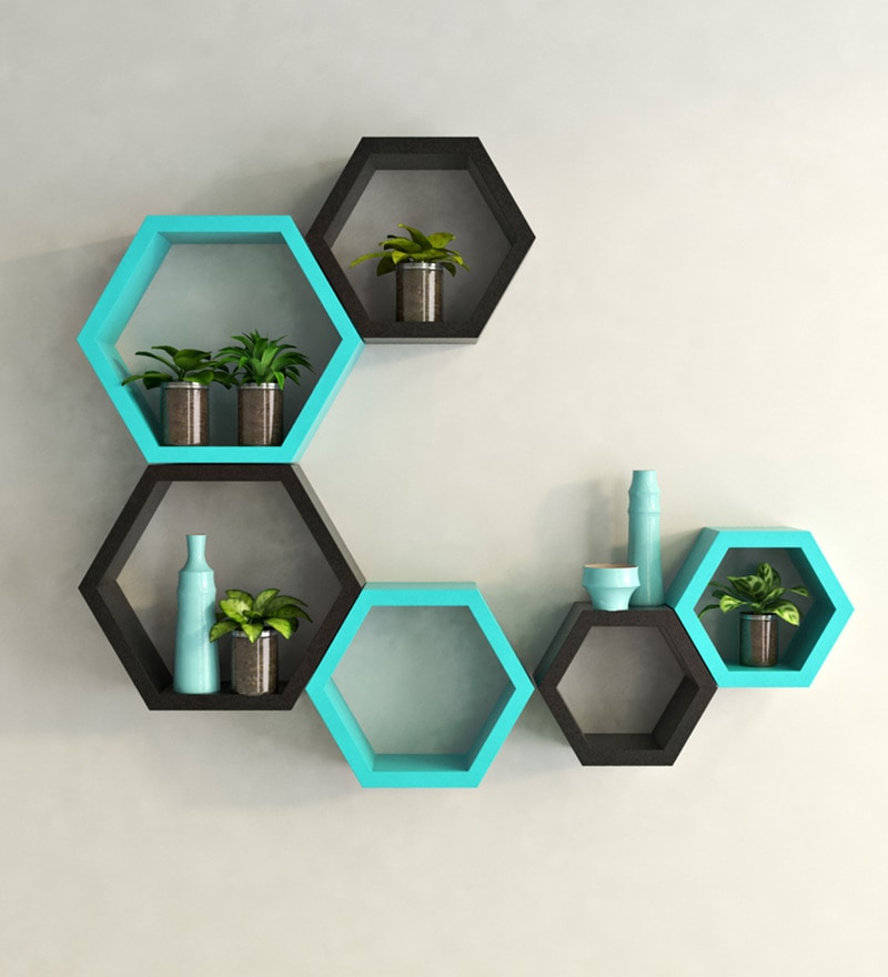 Buy Hexagonal Modular Wall Shelf Set Of 6 In Black Teal Finish