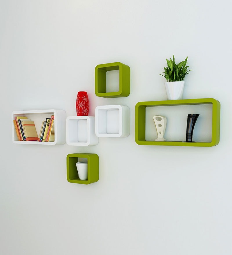 Buy Cubic Modular Wall Shelf Set Of 6 In Green White Finish By