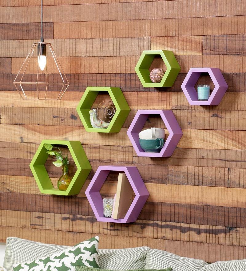 DecorNation Green & Purple MDF Modern Wall Shelf - Set of 6