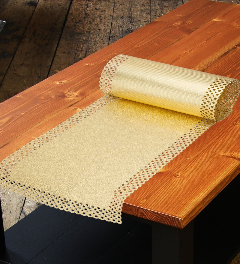 Decotrend Mini Dot Golden Synthetic PU Table Runner