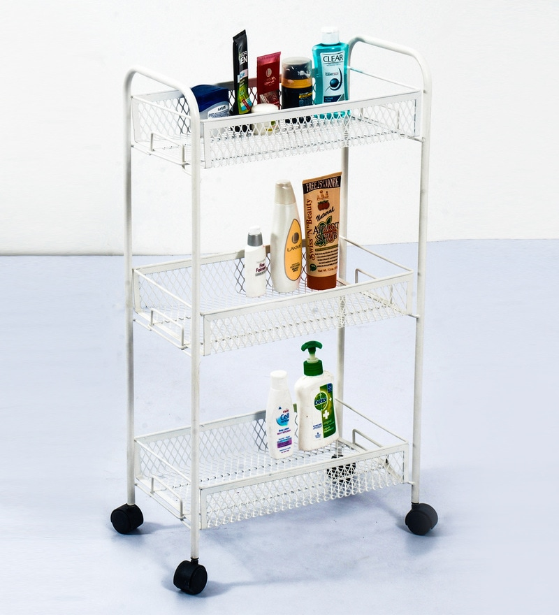 Deneb Multipurpose Metal Trolley white with Three Racks