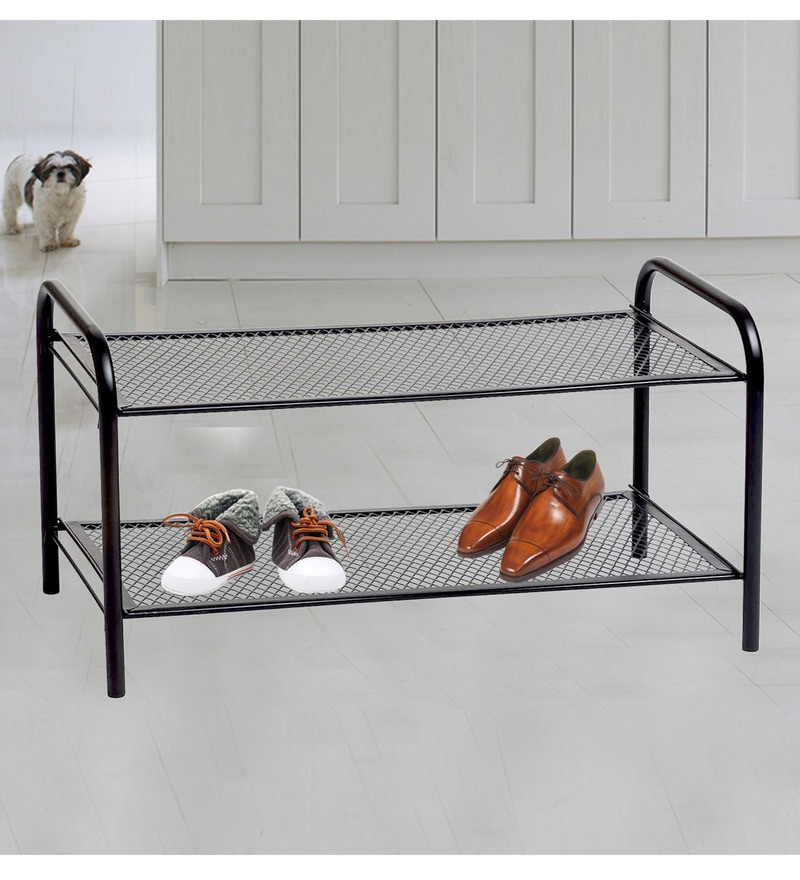 Deneb Multipurpose Metal Rack Black with Two shelves