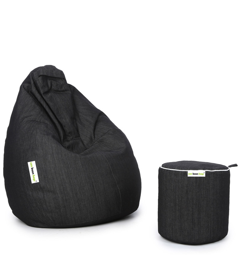 Buy Denim Bean Bag with Beans & Pouffe Cover in Black Colour by Can Online  - Bean Bags with Beans - Bean Bags - Pepperfry - Buy Denim Bean Bag With Beans & Pouffe Cover In Black Colour By