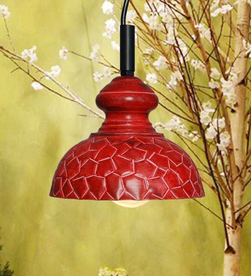 Red Iron Geometric Design Pendant by Design Villa