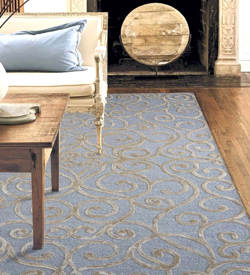 Blue & Silver Wool & Viscose 60 x 96 Inch Hand Tufted Monte Carlo Design Carpet by Designs View