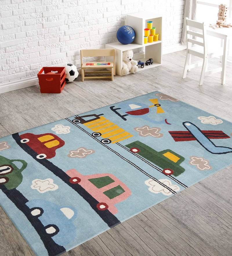 Blue Woolen Rectangular Kids Carpet by Designs View
