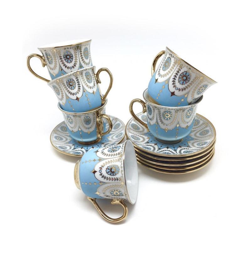 Devnow Anastasi Bone China 160 ML Cup & Saucer - Set of 6