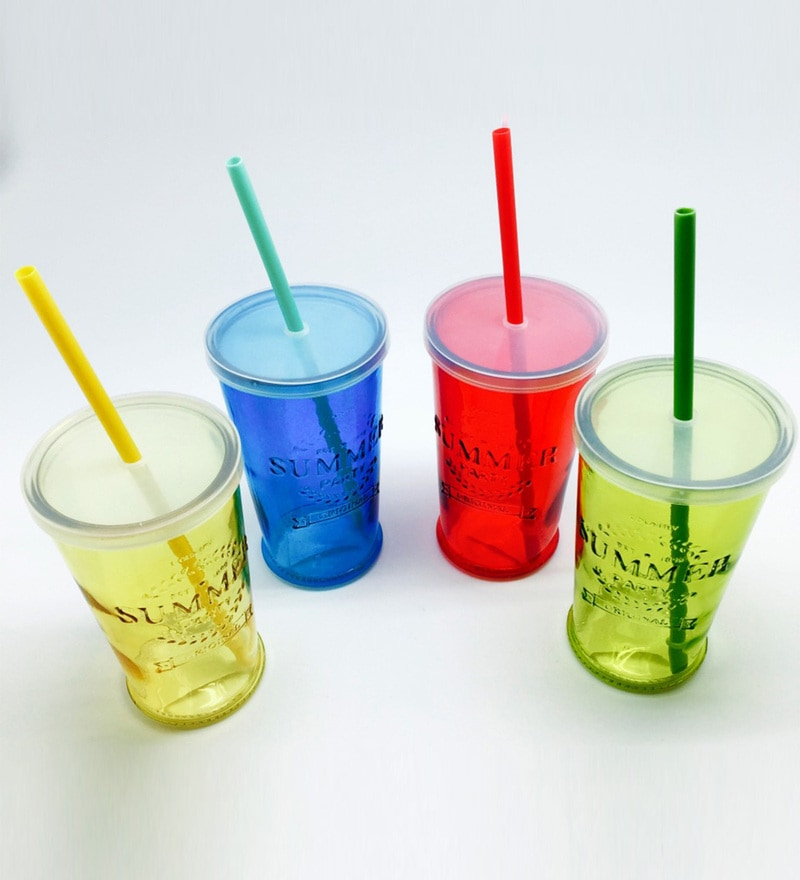 Devnow Summer Party Glass 490 ML Cocktail Tumbler with Lid & Straw - Set of 4