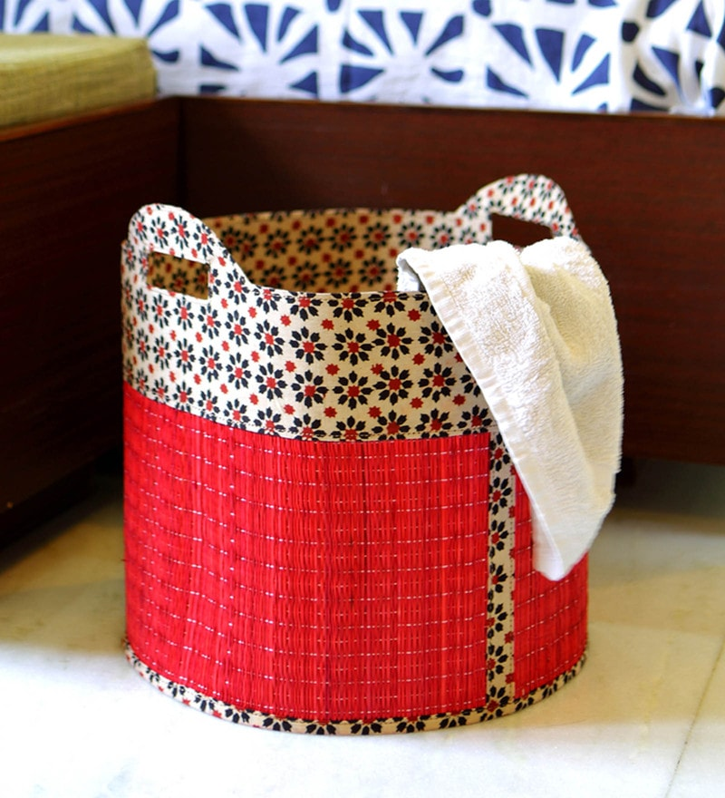 Deziworkz Handcrafted Small Jute 25 L Red Laundry Basket