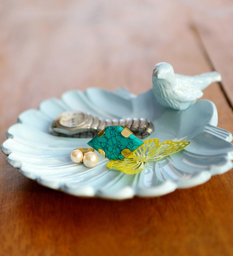 Seashells Metal Sea Blue Jewellery Tray by Deziworkz