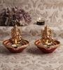 Multicolour Clay Fancy Diwali Diya - Set of 2 by Decardo