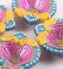 Decardo Multicolour Clay Fancy Diwali Diya - Set of 4