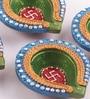 Multicolour Clay Fancy Diwali Diya - Set of 4 by Decardo