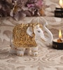 Decardo White & Gold Terracotta Small Elephant Statue