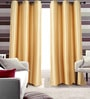 Bright Gold Polyester 46 x 90 Inch Jacquard Eyelet Door Curtain - Set of 2 by Deco Essential