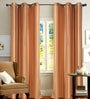 Dark Terracotta Polyester 46 x 90 Inch Jacquard Eyelet Door Curtain - Set of 2 by Deco Essential