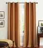 Deco Essential Dark Terracotta Polyester 46 x 90 Inch Jacquard Eyelet Door Curtain - Set of 2