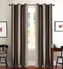 Grey & Gold Polyester 46 x 90 Inch Jacquard Eyelet Door Curtain - Set of 2 by Deco Essential