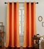 Terracotta Polyester 46 x 90 Inch Jacquard Eyelet Door Curtain - Set of 2 by Deco Essential