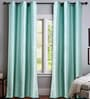 Turquoise Polyester 46 x 90 Inch Jacquard Eyelet Door Curtain - Set of 2 by Deco Essential