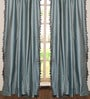 Light Blue Polyester 50 x 96 Inch Door Curtain - Set Of 2 by Deco Window